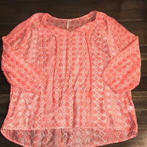 Women's Coral Print Blouse